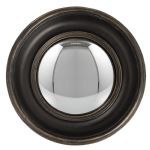 Black Brown Round Frame Convex Fisheye Porthole Mirror 23cm